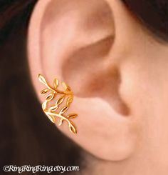 24K Gold Laurel leaf  Nymph Daphne ear cuff by RingRingRing, $55.00
