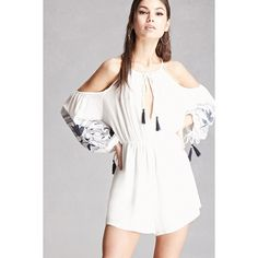 Forever21 Lush Tasseled Romper (1.093.635 VND) ❤ liked on Polyvore featuring jumpsuits, rompers, white, white camisole, long-sleeve romper, white long sleeve romper, forever 21 rompers and long sleeve romper