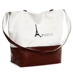 Stylish Canvas Paris Tote Bag With Shoulder Strap