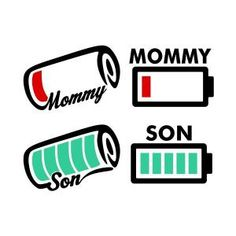 Mommy and Son Battery Status SVG Cuttable Design