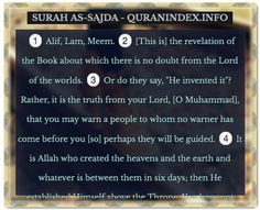 Browse, Read, Listen, Download and Share Surah As-Sajda [32] @ http://Quranindex.info/surah/as-sajda #Quran #Islam