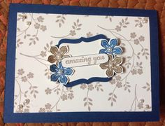 Thank you card - uses decorative label punch with shadow, & word window