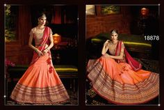 Catalogue Deal Orange Colored Silk Lehenga.