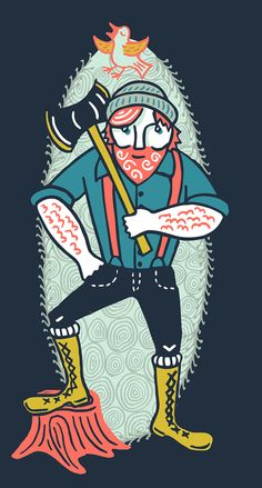 Redhead lumberjack with axe detail from 2014 tea towel calendar