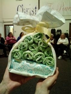 Baby shower gift ... blanket wrapped around wipes and diapers