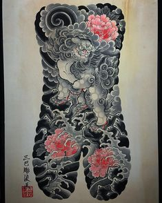 Tattoos on back Japanese Back Tattoo, Japanese Tattoo Designs, Backpiece Tattoo, Irezumi Tattoos, Badass Tattoos, Tattoos For Guys, Dotted Tattoo, Rite De Passage, Foo Dog Tattoo