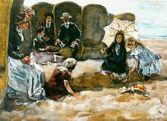 Willem de Zwart (1862-1931) Strandbezoekers in Scheveningen op een zonnige dag ca. 1905 hebben de schaduw opgezocht van de strandstoelen. (Coll. Simonis&Buunk, Ede)