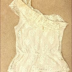 One shoulder lace peplum top. One shoulder lace peplum top. Size 10 Tops Blouses