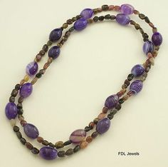 """Jay King MINE FINDS Watermelon Tourmaline & Grapesicle Agate 40"""" Necklace"""