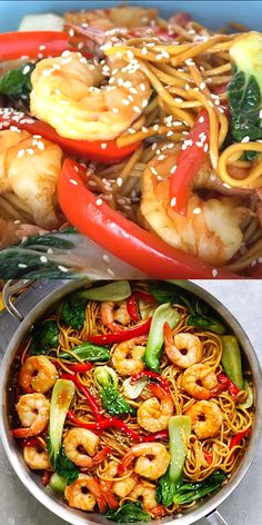 The best and most delicious Shrimp Lo Mein recipe ever! Made with store-bought L… The best and most delicious Shrimp Lo Mein recipe ever! Made with store-bought Lo Mein noodles, it's better than Chinese. Shrimp Recipes, Salmon Recipes, Fish Recipes, Asian Recipes, Chicken Recipes, Healthy Recipes, Food Shrimp, Shrimp Meals, Seafood Meals