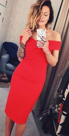 Off The Shoulder Little Red Dress | Caroline Receveur Source