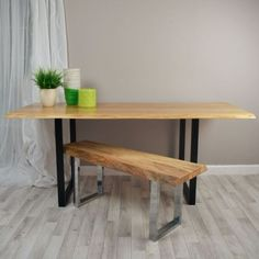 Vivente - Oak Slab Dining Table With Square Steel Legs (in any colour)