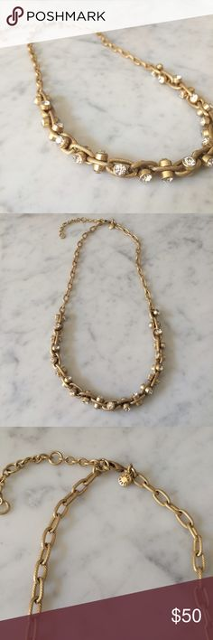 J. Crew Gold and Crystal Link Necklace Lightweight and sparkly link necklace. Worn once. In EUC. J. Crew Jewelry Necklaces