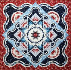Red, white and blue Glacier Star quilt workshop.  Design by Judy Niemeyer.