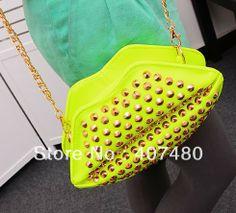 popular vintage lip rivet clutch day evening bag PU leather shoulder bag sling Handbag Designer Lady girl's women Fashion $9.03