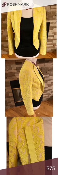 Anthropologie Yellow Cropped Lace Blazer Gorgeous Anthropologie cropped lace blazer by Elevenses.  Is a beautiful vibrant shade of yellow Lace over a creamy nude material.  Has a very nice eloquent structure to it.  Material content is in the pictures.  Please let me know if you have any questions. Anthropologie Jackets & Coats