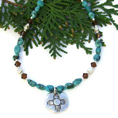 Zia Sun and Turquoise Necklace, Thai Silver Crystals Southwest Handmade Jewelry for Women by @shadowdog #ButterflysAttic - $65.00