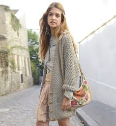 modele tricot veste longue femme