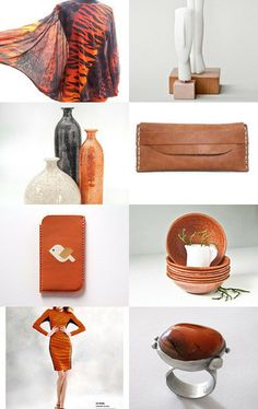 'Touch of Fire' by Irina Wardas on Etsy- #gifts #decor #burntorange #leather #jewelry #fashion