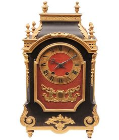 """Antique Clocks :     A french pendulum Lyon, end 19th cent. On three sides glazed case, wood ebonised and decorated with gilded bronze applications. Brass dial ring with black roman numerals, iron coloured hands, on red felt. Verso platine marked """"L. Charvet Ainé Lyon Hgre de la... - #Clocks"""