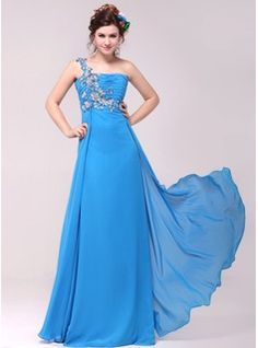 Empire One-Shoulder Floor-Length Chiffon Evening Dress With Ruffle Beading Appliques (017014019)