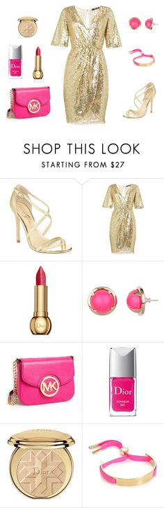 """golden pink lady"" by rosmarimad on Polyvore featuring Ivanka Trump, TFNC, Christian Dior, Cabinet, MICHAEL Michael Kors and Marc by Marc Jacobs"