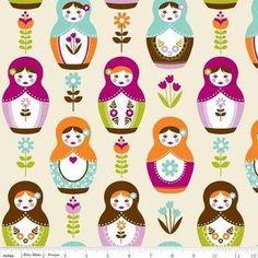 little Matryoshka russian doll cream pink purple flowers riley blake cotton