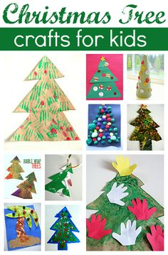 Easy Christmas Tree Crafts For Kids  directions from http://www.notimeforflashcards.com/2012/11/11-easy-christmas-tree-crafts-for-kids.html#