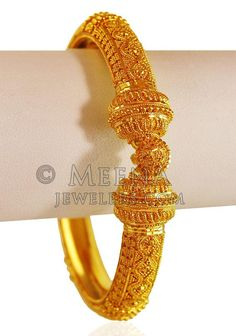 Yellow Gold Kada ( Kada is designed with intricate filigree work with shine finish which enhances its beauty. Kada is designed in a heavy construction. Bangles are open-able with screw and hinge mechanism. Gold Bangles Design, Gold Earrings Designs, Gold Jewellery Design, Necklace Designs, Gold Rings Jewelry, Gold Bracelets, Quartz Jewelry, Coral Jewelry, India Jewelry