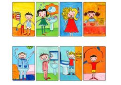 Morning Routine cards/graphics  (Great for reflexive verbs!)
