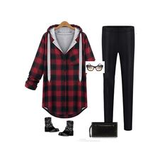 Trendy-Womens-Autumn-Hooded-Button-Up-Plaids-Casual-Loose-Jacket-Coat