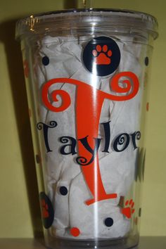Adorable 16 oz Personalized  Tumbler Decorated by Whozitandwhatzit, $14.00