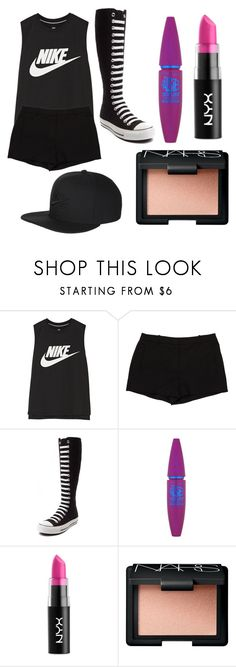 """""""Summer Outfit: Chen"""" by scarletpeak ❤ liked on Polyvore featuring NIKE, L'Agence, Converse, Maybelline, NYX and NARS Cosmetics"""