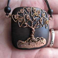 Love Tree Of Life - Made to order- Tiger Ebony Wood and Copper Wire - Whimsical - With your personalized word or inspiration. $55.00, via Etsy.