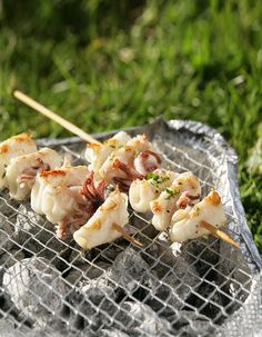 Squid on a Skewer - A simple Summer favourite, perfect for the BBQ! - www.fishisthedish.co.uk/recipes/squid-on-a-skewer