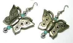 Silver Butterfly Earrings upcycled butterfly by LizonesJewelry, $12.99