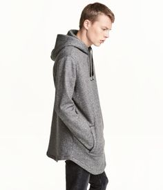 ddc4990d35e1 Black. Long sweatshirt in cotton-blend fabric with a lined drawstring hood.  Side