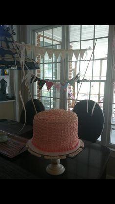 Shabby chic birthday cake with ruffled buttercream