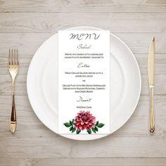 Flowers menu card template Printable wedding by CardsForWedding