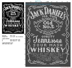 Jack Daniels whiskey bottle free cross stitch pattern 86 x 124 stitches 2 DMC threads