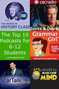 The Top 10 Podcasts for Middle School and High School students.and teachers to., EDUCATİON, The Top 10 Podcasts for Middle School and High School students.and teachers too! Great podcasts to make learning fun! Middle School Libraries, Middle School Reading, Middle School English, Middle School Classroom, Middle School Science, High School Students, Gifted Students, Science Classroom, High School Teachers
