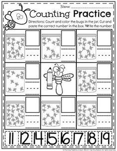 Bug Counting Worksheets for Kindergarten or Preschool