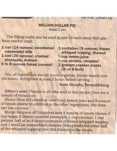 million dollar pie