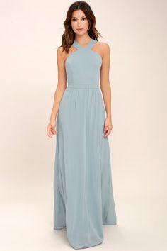 cc48c3d99695 Lulus | Air of Romance Light Blue Maxi Dress | Size X-Small | 100% Polyester