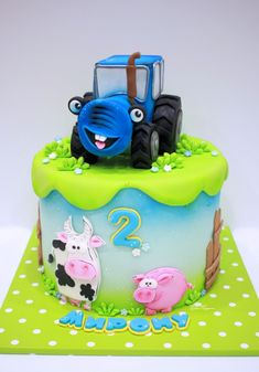 22 Trendy Cake For Boys Tractor Tractor Birthday Cakes, Toddler Birthday Cakes, Baby First Birthday, Cars Cake Pops, Snowman Cake, Farm Cake, Chocolate Cake Recipe Easy, Animal Cakes, Novelty Cakes