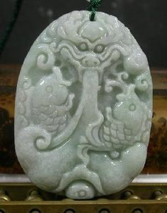 Green 100% Natural A Jade jadeite pendant Twin Fish Dragon - USA FREE SHIPPING