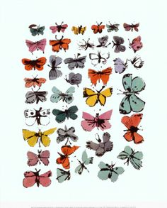 Butterflies, 1955 Print by Andy Warhol at Art.com