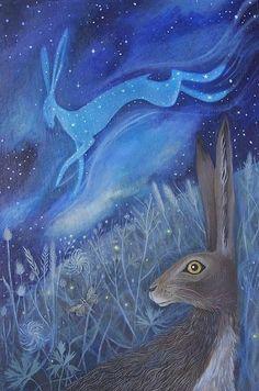 LA noche son para el venado (las constelaciones de estrellas) y el conejo que mira (la luna)