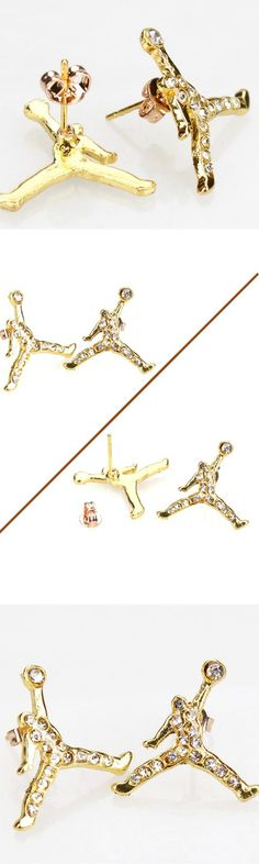 Basketball Air Jordan Slam Dunk Vintage Crystal Earrings! Click The Image To Buy It Now or Tag Someone You Want To Buy This For.  #MichaelJordan