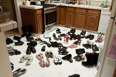 Elf on the shelf mischief - put all the pairs of shoes spread out on the floor of one room